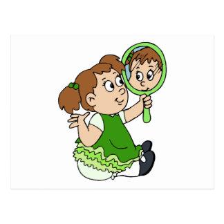 Brunette girl green dress postcard