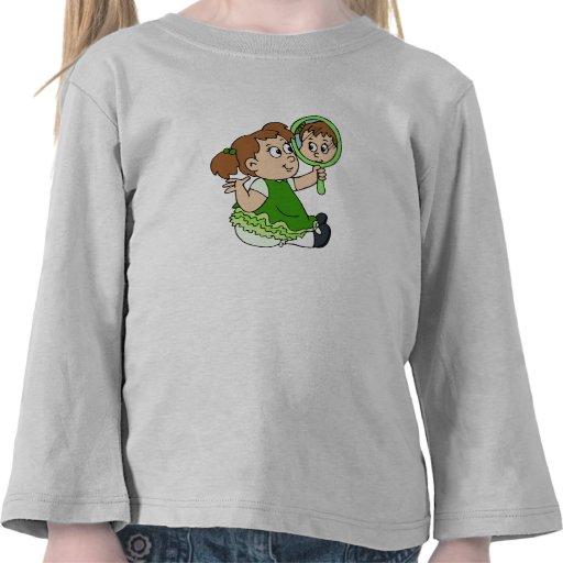 Brunette girl green dress t shirts