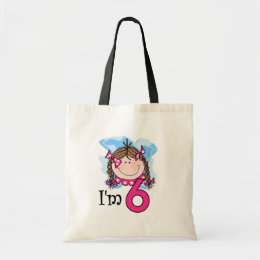 Brunette Girl I'm Six Tote Bag