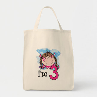Brunette Girl I'm Three Tote Bag