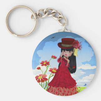 Brunette Girl in a Red Dress Basic Round Button Keychain