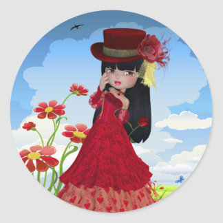 Brunette Girl in a Red Dress Classic Round Sticker