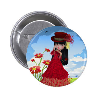 Brunette Girl in a Red Dress Pinback Button