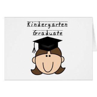 Brunette Girl Kindergarten Graduate Greeting Card