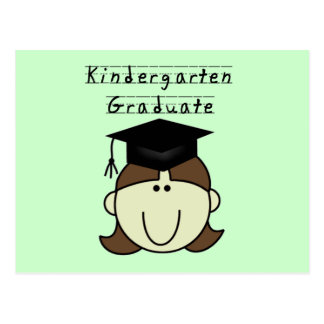 Brunette Girl Kindergarten Graduate Postcard