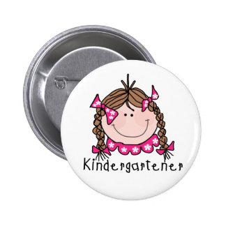 Brunette Girl Kindergartener Pinback Button