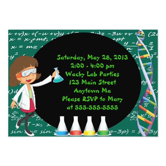 Brunette Girl Mad Scientist Party Invitation