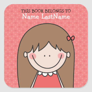 Brunette Girl on Red Background Bookplates Square Sticker