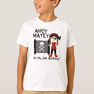 Brunette Girl Party Like a Pirate Custom Tshirt