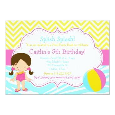 Beach Themed Brunette Girl Pool Party Bash Party Card