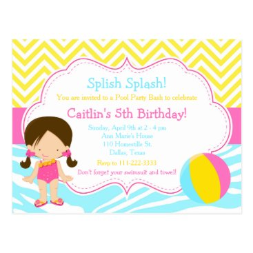 Beach Themed Brunette Girl Pool Party Bash Party Postcard