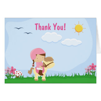 Brunette Girl Riding Brown Horse Thank You Card
