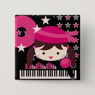 Brunette Girl Rock Star Party Birthday Button