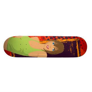 Brunette girl skateboard