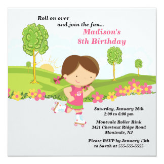 "Brunette Girl Skating Birthday Party Invitation 5.25"" Square Invitation Card"