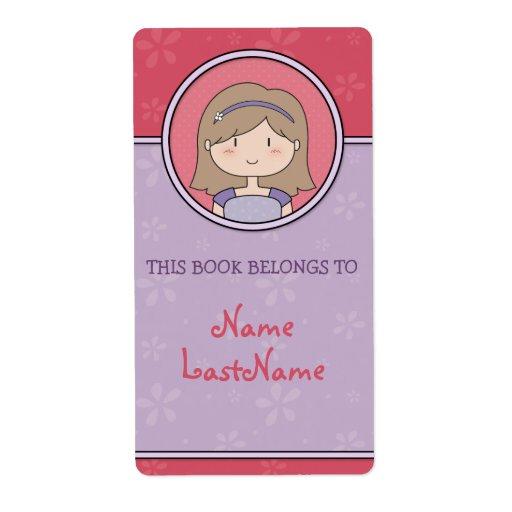 Brunette Girl -- This Book Belongs To... Custom Shipping Label