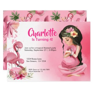 Brunette Girl Tropical Pink Flamingo Birthday Invitation