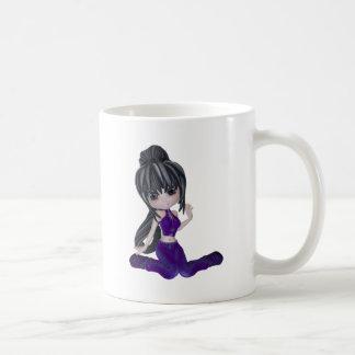 Brunette Girl with Lilac Clothing Coffee Mug