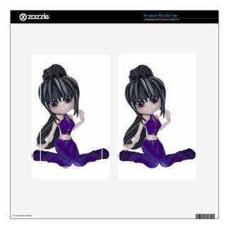 Brunette Girl with Lilac Clothing Decal For Kindle Fire
