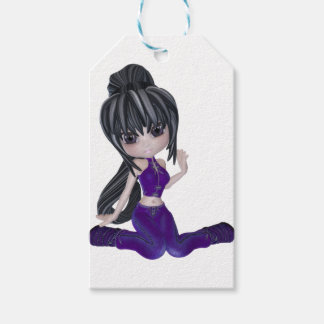 Brunette Girl with Lilac Clothing Gift Tags