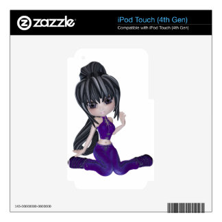 Brunette Girl with Lilac Clothing iPod Touch 4G Skin