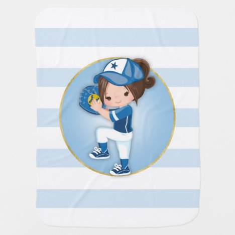 Brunette Girls Blue Softball Baby Blanket
