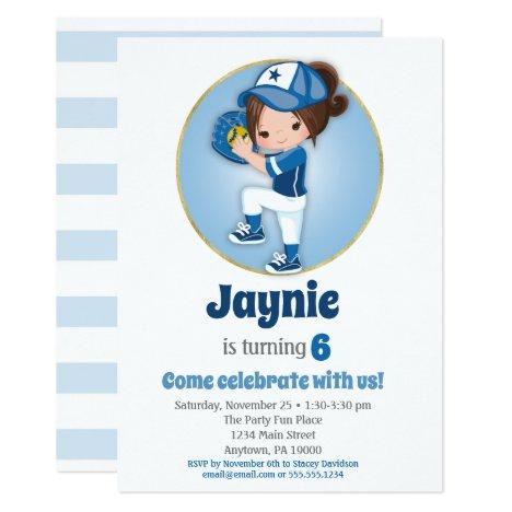 Girls Softball Birthday Invitations - Softball Party