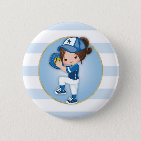 Brunette Girls Blue Softball Button