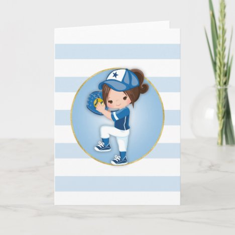 Brunette Girls Blue Softball Card