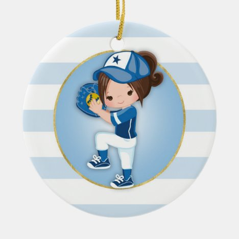 Brunette Girls Blue Softball Ceramic Ornament