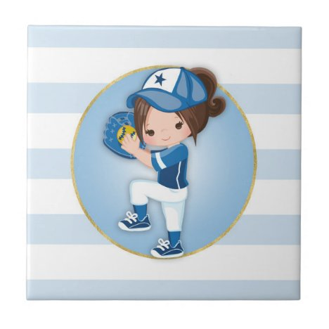 Brunette Girls Blue Softball Ceramic Tile