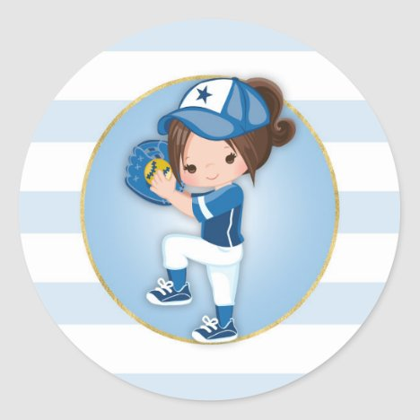 Brunette Girls Blue Softball Classic Round Sticker