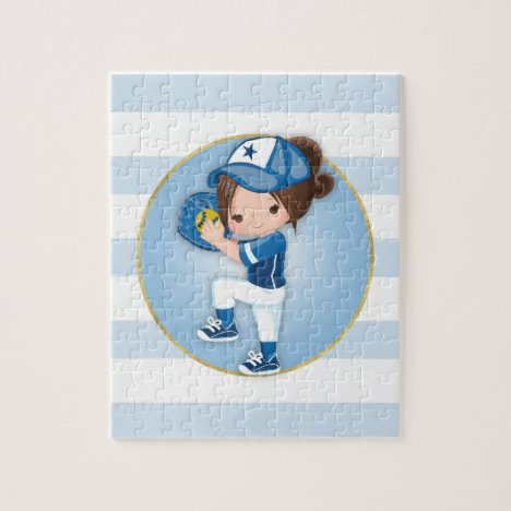 Brunette Girls Blue Softball Jigsaw Puzzle
