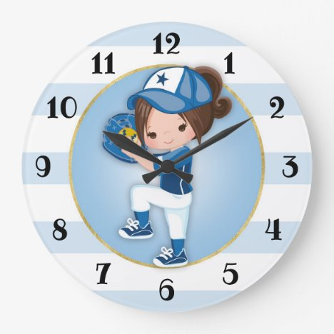 Brunette Girls Blue Softball Large Clock