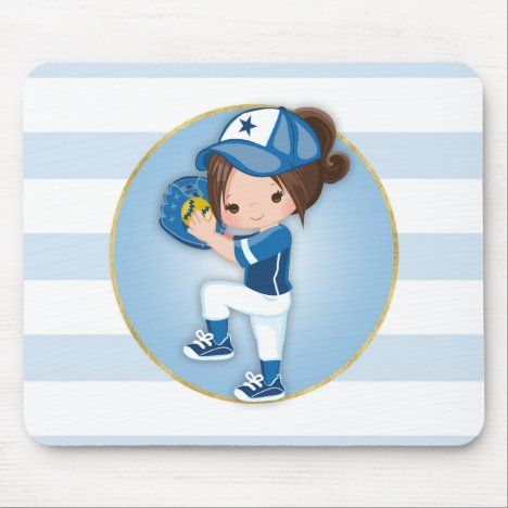 Brunette Girls Blue Softball Mouse Pad