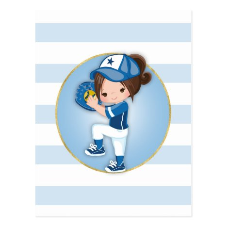 Brunette Girls Blue Softball Postcard