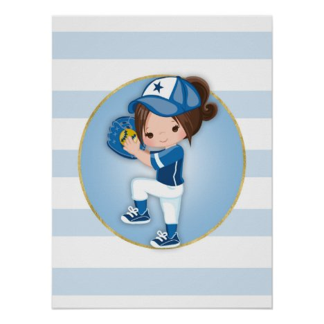 Brunette Girls Blue Softball Poster