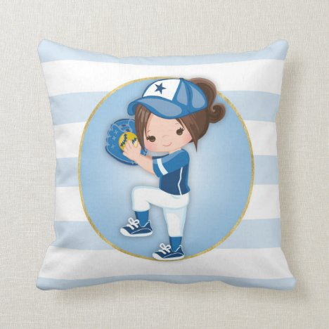 Brunette Girls Blue Softball Throw Pillow