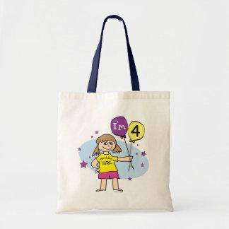 Brunette Girls I'm 4 4th Birthday Bag