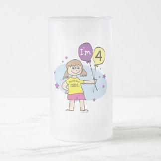 Brunette Girls I'm 4 4th Birthday Coffee Mugs