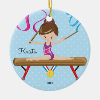 Brunette Gymnast Gymnastics Christmas Ornament
