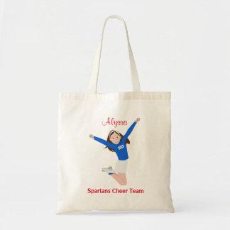 Brunette Hair Cheerleader in Blue and White Tote Bag