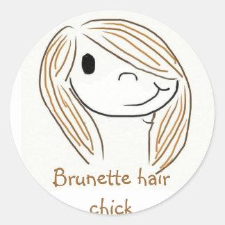 Brunette hair chick classic round sticker