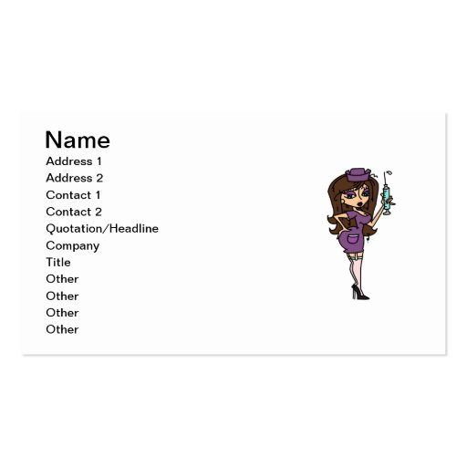Brunette Hair Sexy Nurse T-shirts and Gifts Business Card Templates