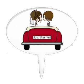 Brunette Haired Bride & Groom in a Red Wedding Car Cake Toppers