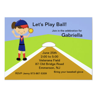 Brunette Haired Girls Softball Birthday Invitation