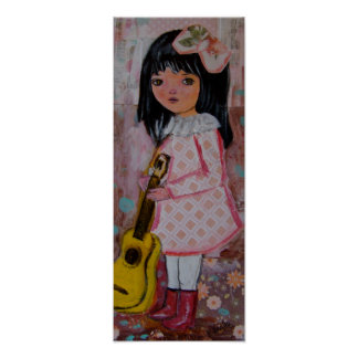 Brunette harlequin girl big eyed cute kid guitar poster