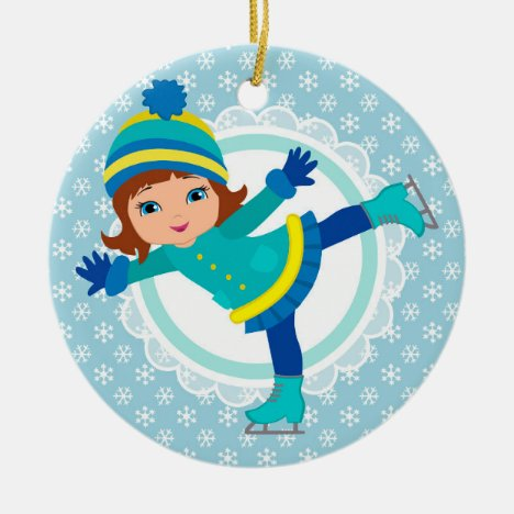 Brunette Ice Skater - Winter Sports Skating Ceramic Ornament