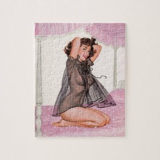 Brunette in Black Negligee Pin Up Art Jigsaw Puzzle