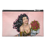 Brunette in Lingerie with Roses Illustration Travel Accessory Bags
